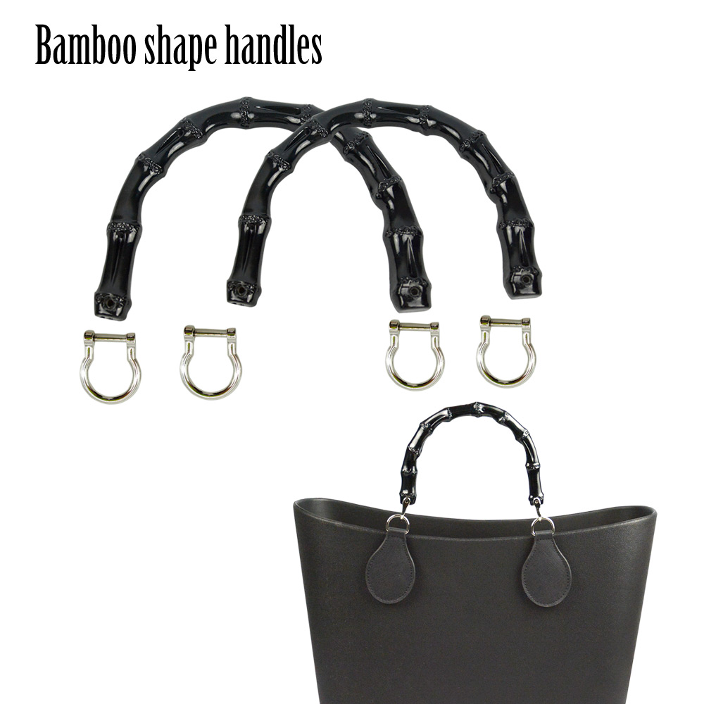 2019 New 1 Pair Bamboo Shape Plastic Handles For Classic Mini O Bag Women Handbag Bamboo Shape Handle For Obag Basket Moon