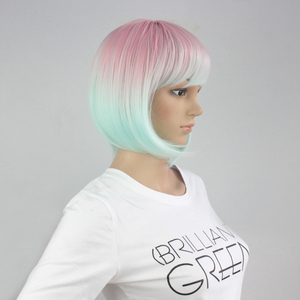 Image 2 - Yiyaobess 스트레이트 라이트 핑크 그린 ombre 짧은 밥 가발 bangs 합성 머리 코스프레 의상 여성 가발 파티 25cm