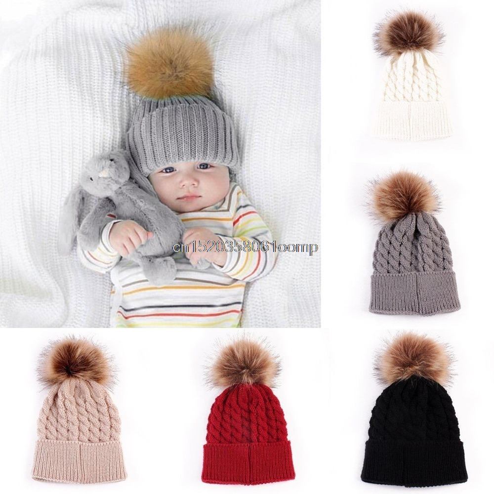 Hot 5 Color Baby Toddler Girls Boys Warm Winter Knit Beanie Fur Pom Hat Crochet Ski Ball Cap #K4UE# Drop Ship
