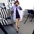 New Design Winter Women Fur Vest Faux Fox Fur Vests Woman Fake Fur Coat Jacket Female Ladies Fur Coats Lilac Size S-XXL
