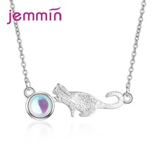 Unique Design Cat&Ball Shape Pendant Necklace 925 Sterling Silver Exquisite Opal High Quality Top Sale Wholesale(China)