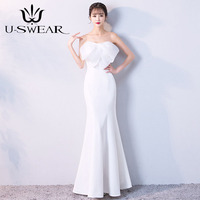 U SWEAR 2019 Sexy Strapless Sleeveless White Evening Dress Party Banquet Formal Gowns Long Trumpet Vestidos Robe Ceremonie Femme