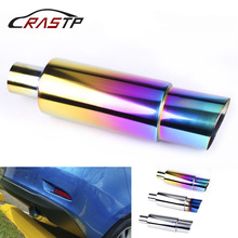 RASTP-Universal Grilled Blue Car Exhaust Mufflers Neo Chrome 304 Stainless Steel Pipe Racing Muffler Tip RS-CR1002