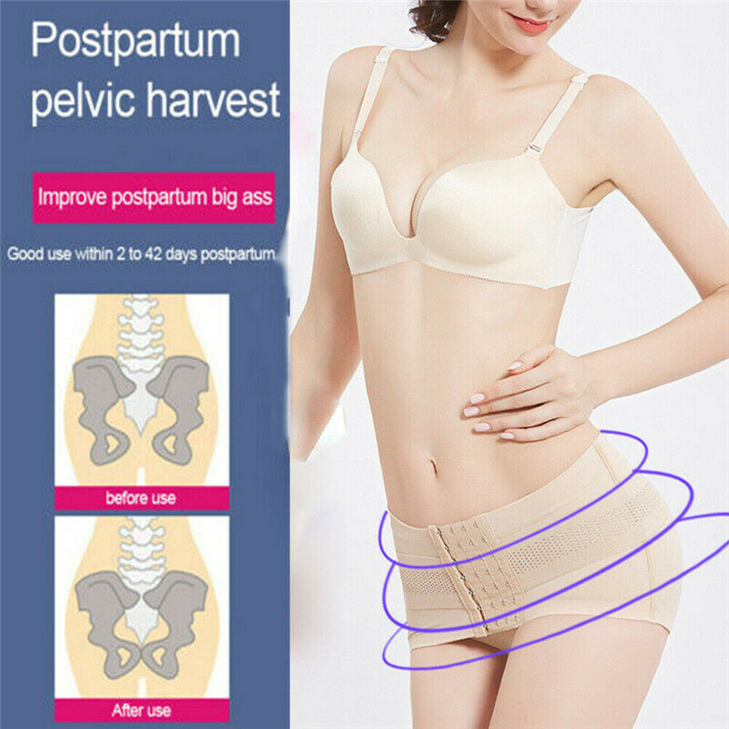 Women Nylon Pelvic Posture Correcting Belt Hip-Up Postpartum Recovery Band Belly Slim Shaper