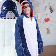 HKSNG Winter Warm Adult Cartoon Animal Blue Big Shark Family Pajamas Onesies  Pijamas 2959c75af470d