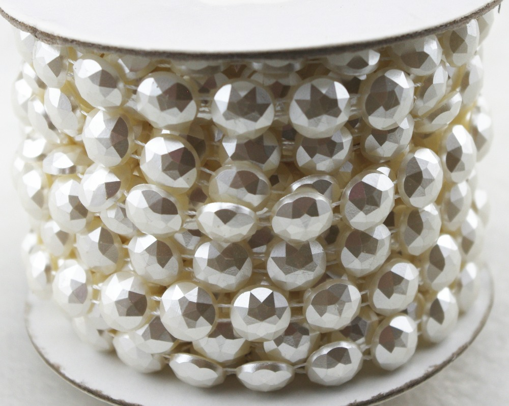 10y 10mm round Shaped ivory Pearl Rhinestone Chain Trims Sewing Crafts  Costume Applique Wedding Decoration LZ116 0cd6a56e8a9d