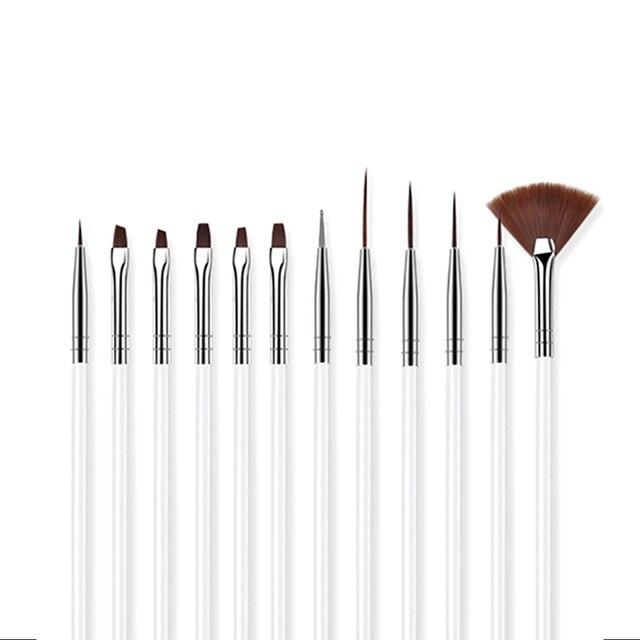 ROHWXY 12 PCS Acrylic Brush Nail Art Brush Carving Flower Nail Gel Pen UV Gel Drawing Painting Brush Handle Nail Art Tools 3