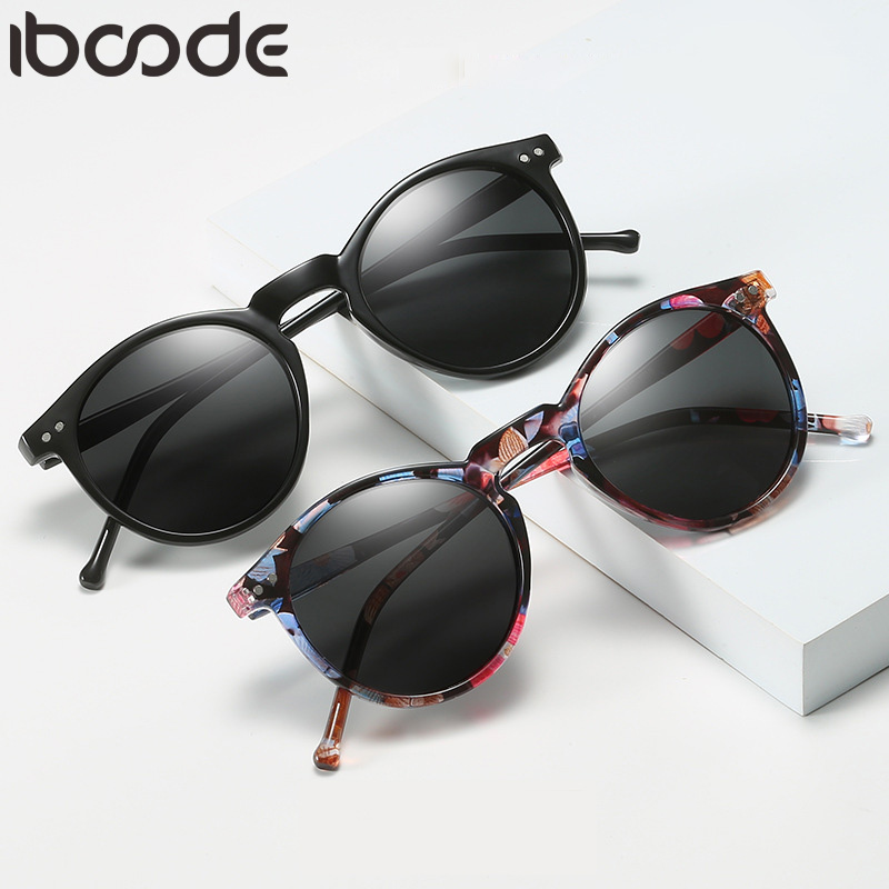 Iboode lunettes De soleil polarisées hommes femmes conduite ronde cadre lunettes De soleil rétro mâle femme lunettes UV400 nuances Oculos Gafas De Sol