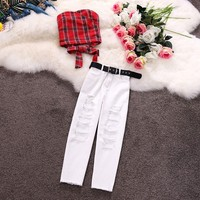 In the summer of 2019 grid with bowknot strapless hole short straight jeans suit