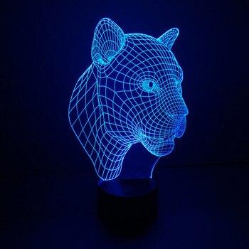 Cabeça de leopardo novidade noite luz luces flotantes para piscina forma Animal bonito Night Light para quarto de crianças