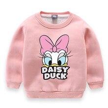 Baby Boys Girls Autumn Cartoon Duck Sweatshirt Clothes Toddler Kids Child Cotton Velvet Warm Printed T Shirts 2-12Y