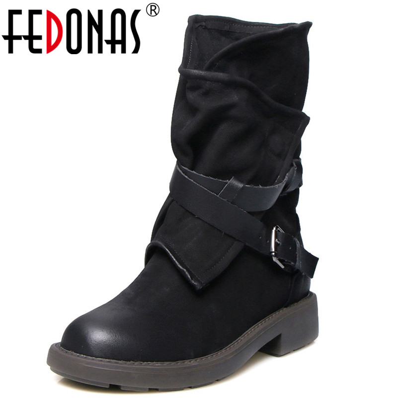 FEDONAS New Women Mid-calf Motorcycle Boots Classic Design Warm Round Toe Martin Shoes Woman Buckles Sexy Club Party Boots trendy women s mid calf boots with splicing and buckles design