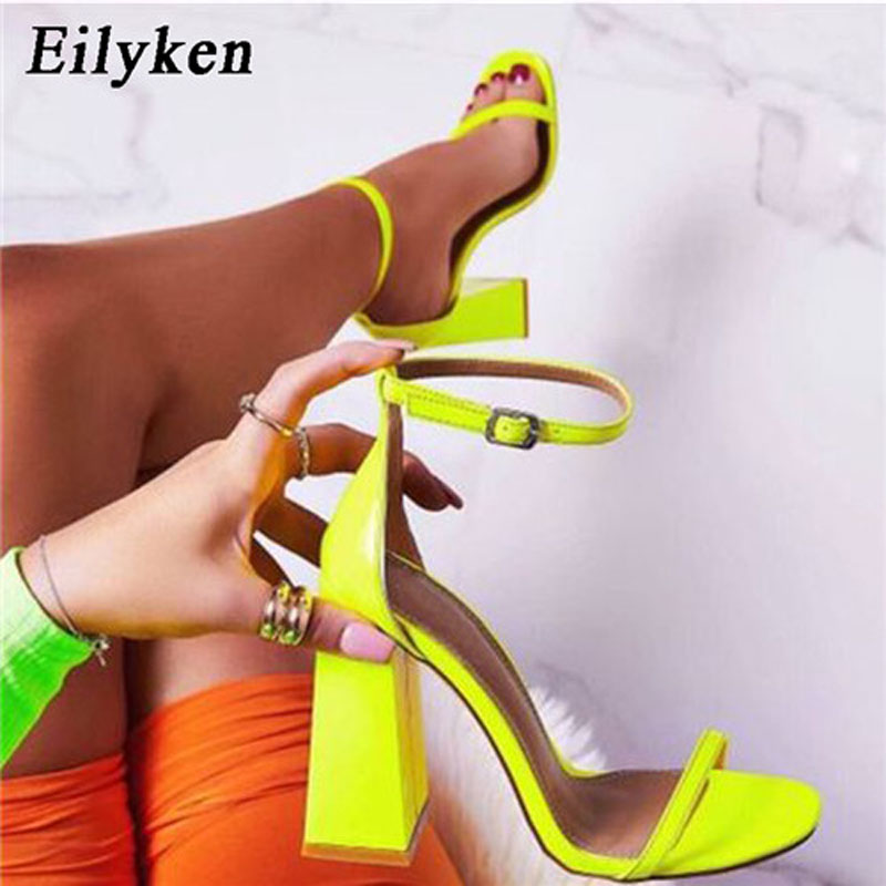 Eilyken 2020 New Fashion One Buckle Strap Summer Sandals Square Heel Cover Heel Concise Ladies Party Sandalias Shoes Size 35-40