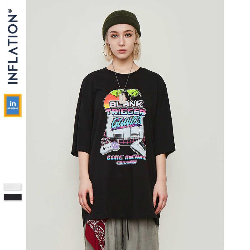 Инфляции Лето Для Мужчин's футболки смешно печатных рубашка большого размера Мужская, с коротким рукавом футболки хип-хоп Уличная Топ одеть 91215 S