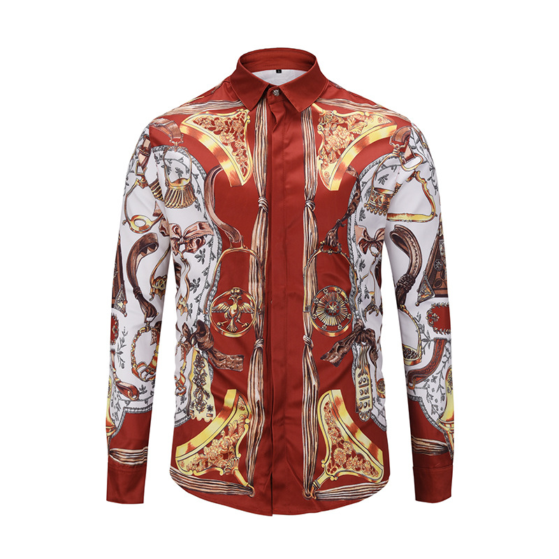 Hot Selling Men Shirts 3D Fashion Design Printed Englnd Style Long Sleeve Covered Button M to XXL Funny Casual Famous Brand in Casual Shirts from Men 39 s Clothing