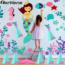 OurWarm Mermaid Birthday Party Paper Candy Boxes DIY Felt Game Stickers Hanging Banner Themed Favors Supplies
