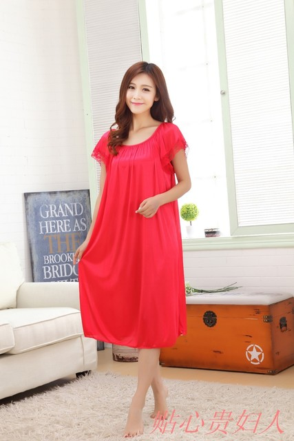 Free Shipping New Women Summer Plus Size Ice Silk Nightgown Female Large  Size Short Sleeve sleepwear b8dc47d8ce3a