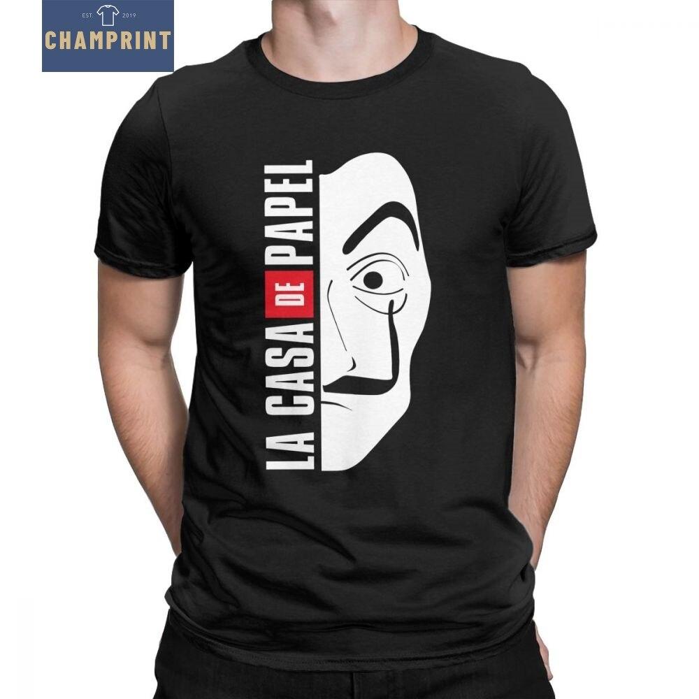 La Casa de T Camisa Dos Homens de Máscara de Papel Dinheiro Assalto Casa de Papel Do Vintage 100% Algodão T-shirt Em Torno Do Pescoço t-Shirt Plus Size Tops