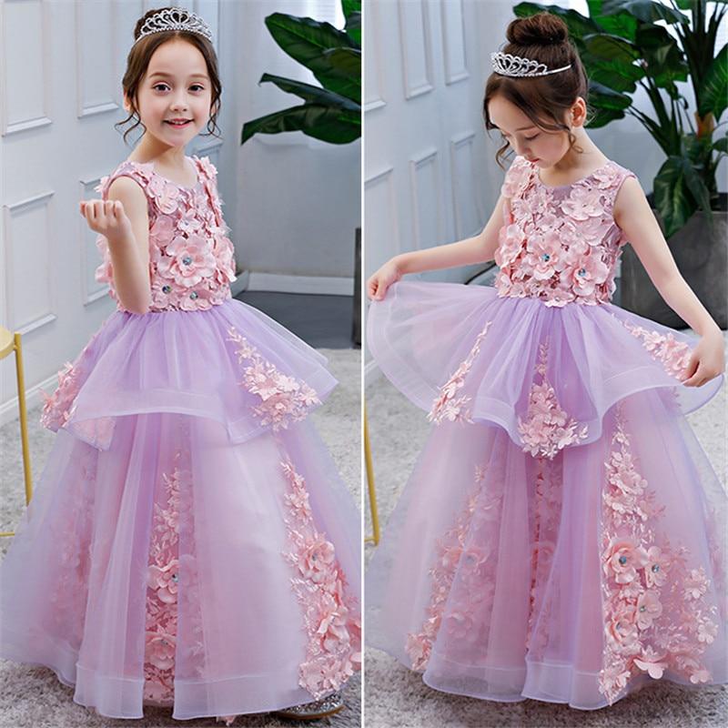 2018 Spring Summer New Children Girls Luxury Elegant Flowers Birthday Wedding Party Long Ball Gown Dress Kids Piano Host Dress