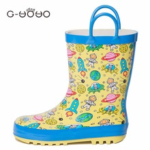 G-YOYO 2017 New Spring Autumn Shoes Kids Rubber Rain Shoes Children's Waterproof Rain Boots Outer Space Baby Boots
