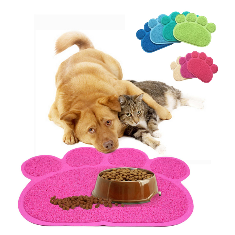 30x40cm Dog Cat Feeding Mat Pad Dog Paw Shape Cup Placemat Pet Bed Mat Dish Bowl Food Water Feed Placemat Wipe Easy Cleaning