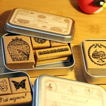 цена на BF040 6 design DIY Scrapbooking Stamps Vintage Wooden Rubber Ink Pad Stamp Iron Box Sealing Stamp Set tinta sellos 10*7.5*2cm