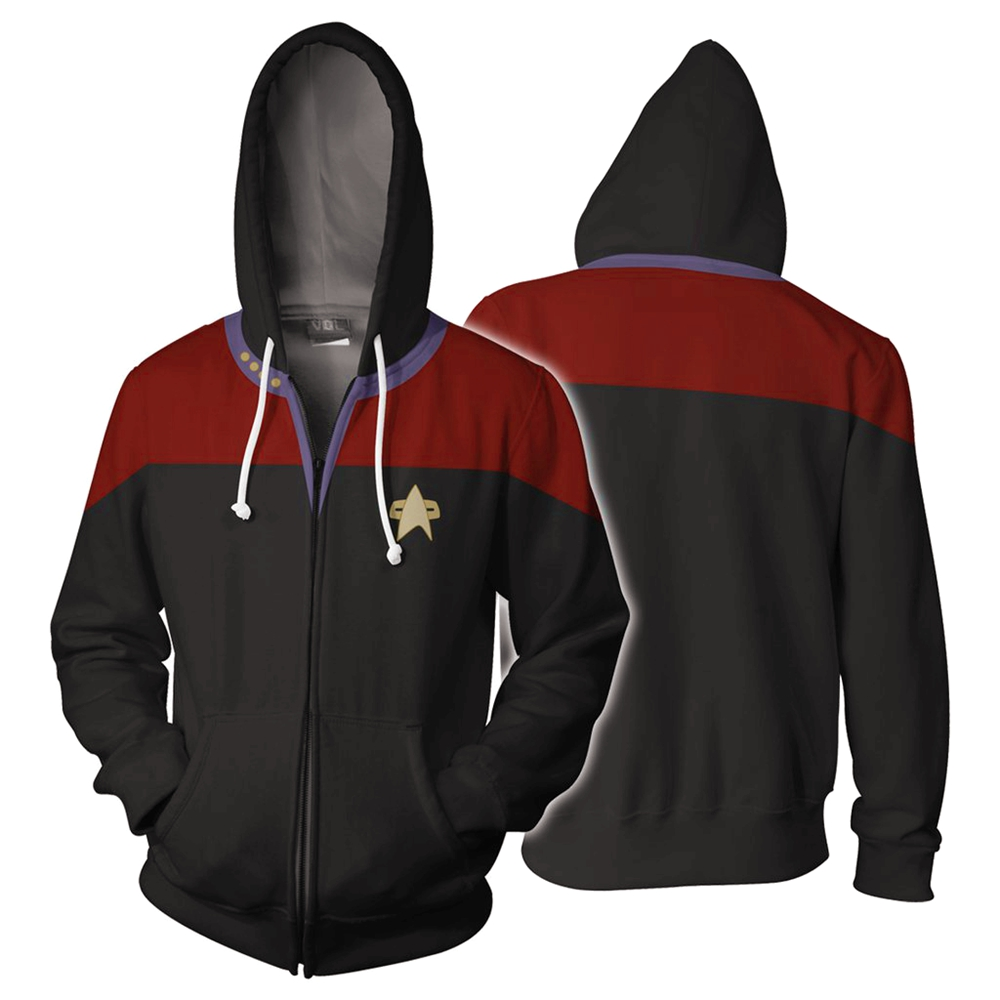 Star Trek Voyager Command Cosplay Costume Uniform Men Women Hooides Sweatshirt Zip Up Jacket Coat  Red  Purple Blue Size S-5XL
