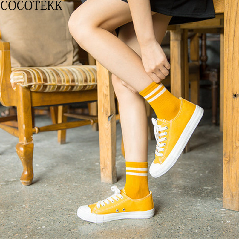 COCOTEKK Fashion Basic Solid Color Cotton Women Socks High School Girls Two Stripes Cott ...