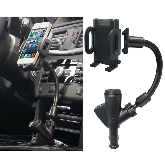 1PC Universal Car Mount Smartphone Holder with Dual USB 2.1A ...