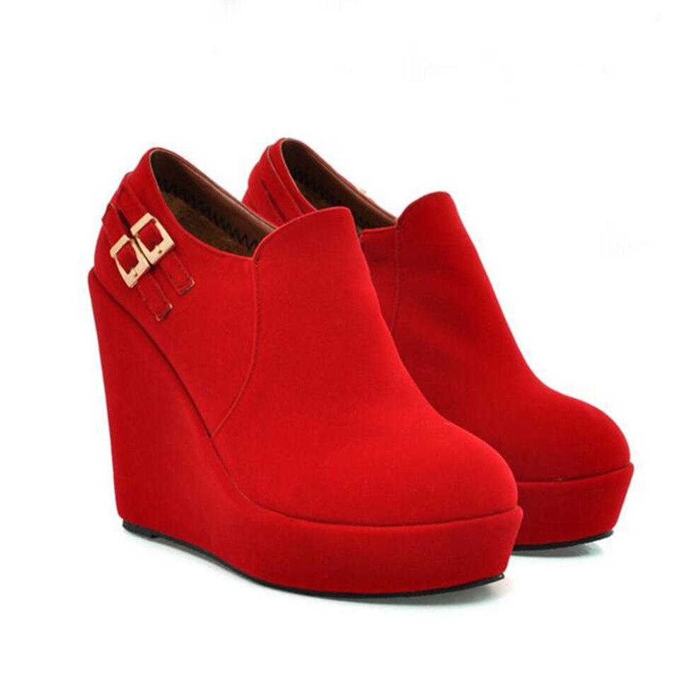 Loslandifen New Style Fashion Shoes Women Side Zipper Mukluks Waterproof Platform High Heel Lady