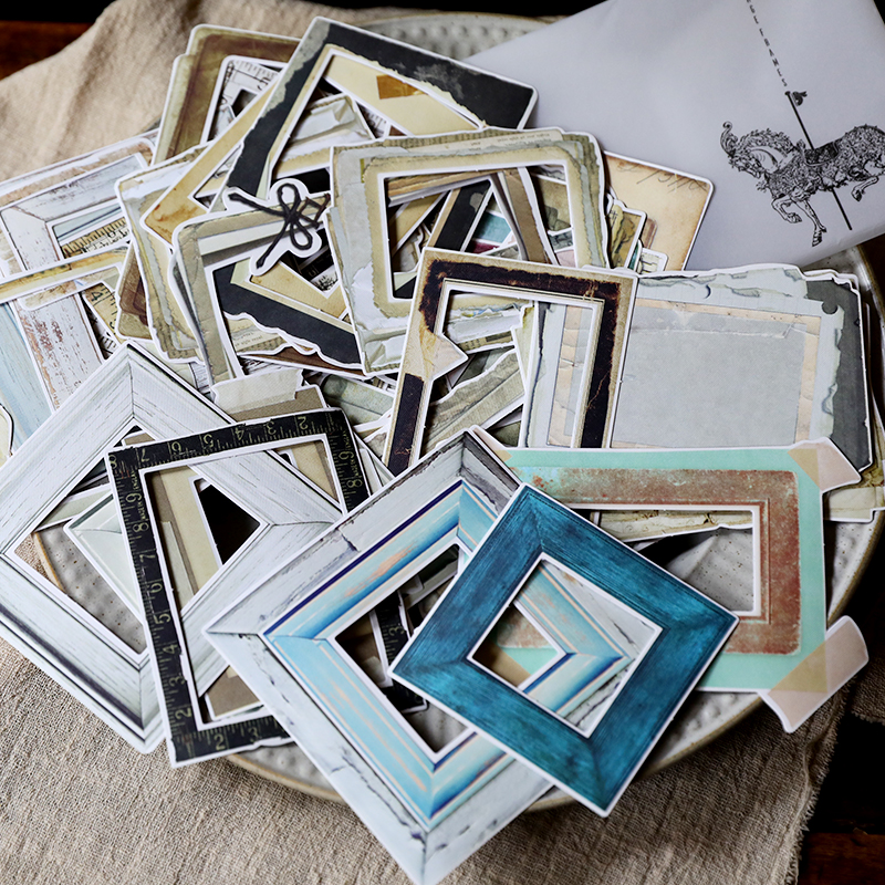KLJUYP 35pcs Retro Hand Ledger Border Sticker Photo Frame Cardstock Die Cut For DIY Scrapbooking/photo Album Decoration Crafts