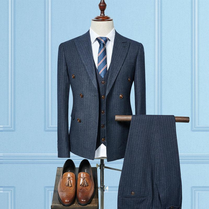 Jacket+Vest+Pants 2018 New Double Breasted Men Suits Fashion Wool Men's Slim Fit Business Wedding Suit Men Wedding Suit Size 3XL