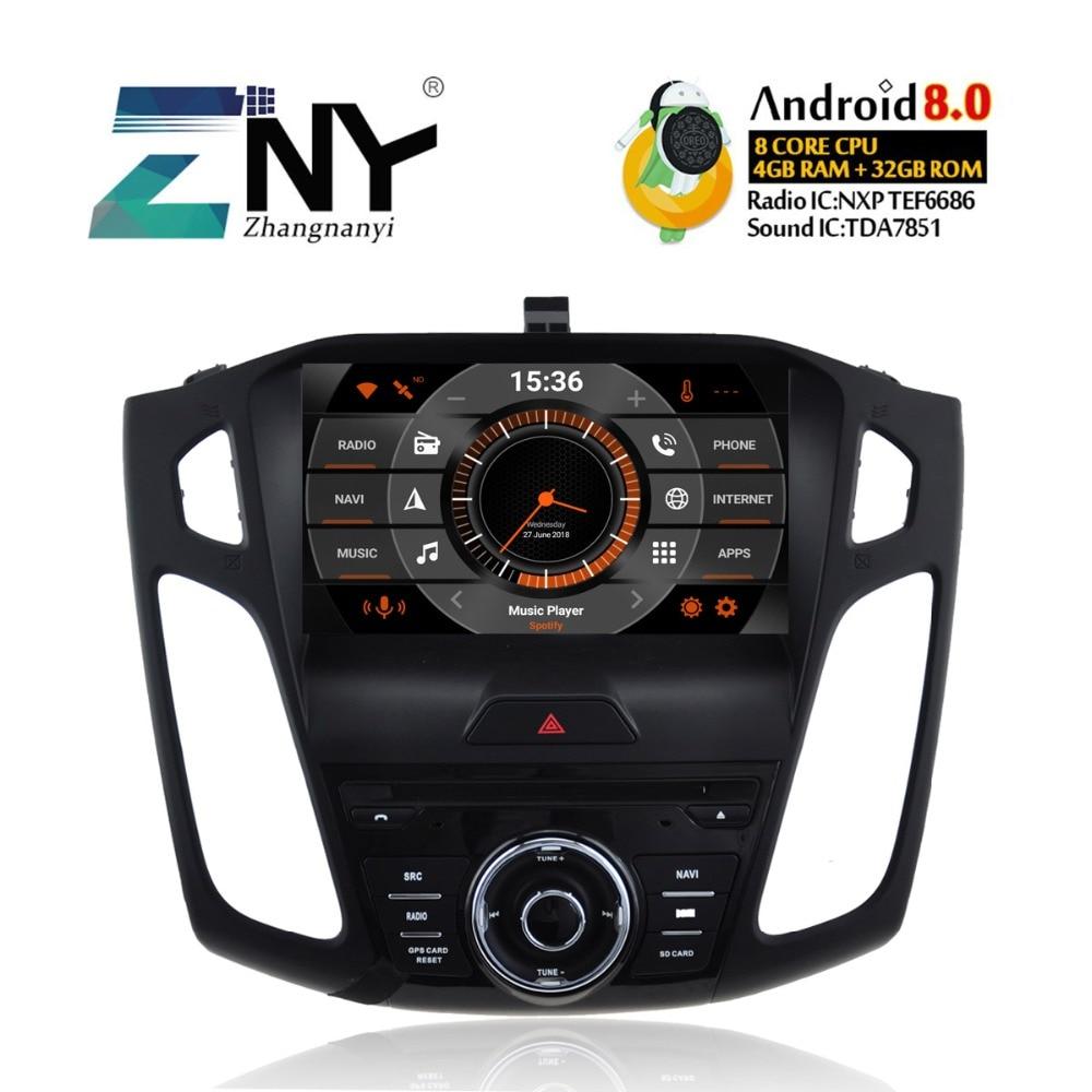 4 gb RAM Android 8.0 DVD De Voiture Pour 2012 2013 2014 2015 2016 2017 Focus Auto Audio Vidéo Radio Stéréo wiFi GPS Navigation Sauvegarde Cam