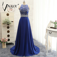 WB616 Vnaix 2017 Sexy Chiffon Bling Sequined Criss Cross Bridesmaid Dresses Cheap Real Photo Blue Women
