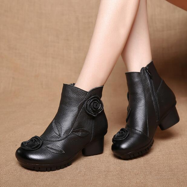 RUSHIMAN 2018 Spring New style Mujer Chaussure Women Genuine Leather Boots Casual Ladies Martin Shoes Winter Flat Boots Shoes