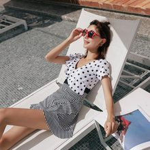 2019 New One Piece Swimsuit Sexy Dots Printed Swimwear Women Bathing Suit Beach Backless Monokini Swimsuit Female Beach Cover Up цены