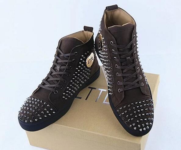 2017 Suede Leather  High Top Casual Shoes Rivets Studded Lace Up Zapatos Hombre Flats Trainers Plus Size EU46 2016 hot low top wrinkled skin cockles trainers kanye west chaussure flats lace up mens shoes zapatos mujer casual shoes