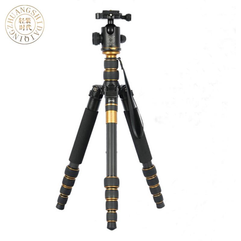QZSD Q666C Professional Carbon Fiber Tripod Monopod Pro For DSLR Camera Portable Traveling Tripod Max load