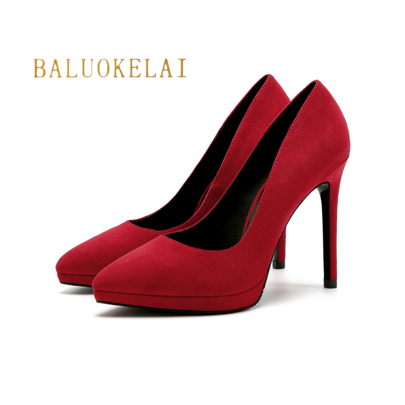 11CMThin Heels Office Shoes Red New Arrival Women Pumps Fashion Flock Material High Heels Shoes Women's Pointed Toe Shoes,K-046 baoyafang new arrival ladies shoes fashion pointed toe high heels pumps women office shoes 7cm heel sexy girls wedding shoes