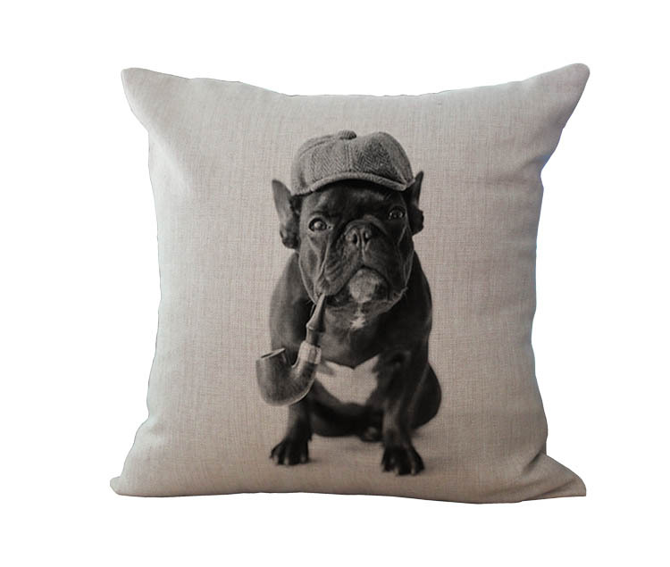 Free Shipping Wholesale 100% New Cotton Linen European French Bulldog Series Cushion Pillow on sofa for home decoration
