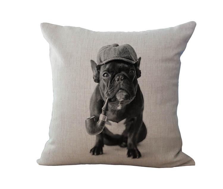 Free Shipping Wholesale 100 New Cotton Linen European French Bulldog Series Cushion Pillow On Sofa