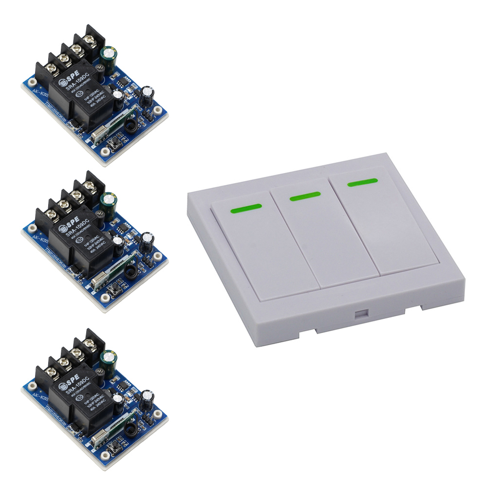 Smart Home DC 12V 24V 36V 48V 30A Relay Receiver RF Remote Control Switch & Wall Panel Remote Transmitter Learning Code New zndiy bry dc 12v 4 ch learning code remote control switch kit black blue