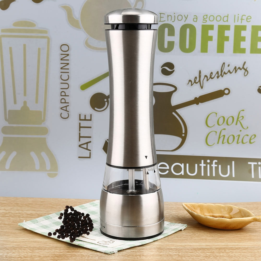 Electric Stainless Steel <font><b>Pepper</b></font> Salt <font><b>Mill</b></font> Silver Color Electronic <font><b>Battery</b></font> Operated Peppercorns <font><b>Mill</b></font> Kitchen Accessories Tools