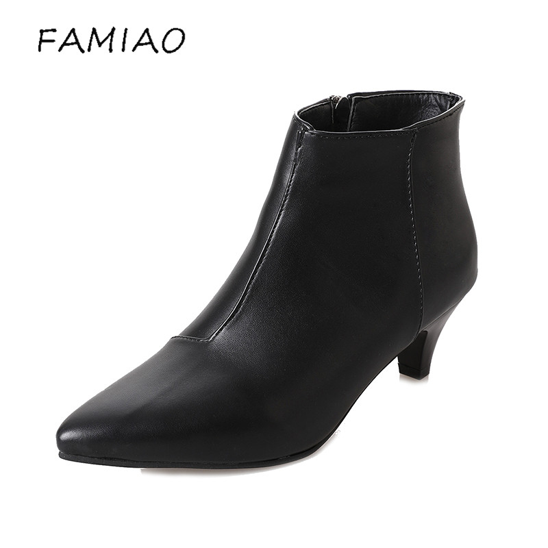 FAMIAO European and American Style Fashion 2017 autumnbotas mujer women Zip Women Boots Sexy Pointed Toe High Heels  Shoes