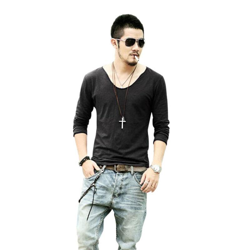 High quality mens deep v neck t shirt buy cheap mens deep for Cut shirts for men