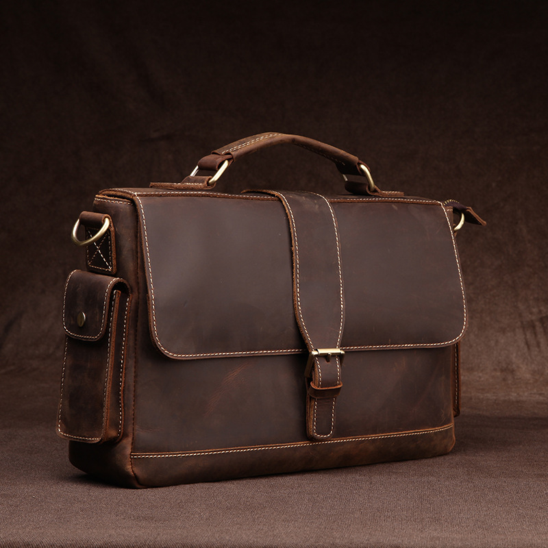 Joyir New Crazy Horse Leather Briefcase Coffee Color Men Genuine Leather Messenger Bag Business Bags Office Bags For Men