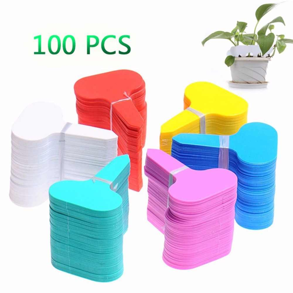 100Pcs Plastic T-type Garden Tags Ornaments Plant Flower Label Nursery Thick Tag Markers for Plants Garden Decoration