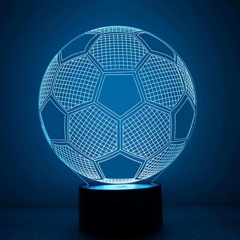 Soccer football shaped 3D colorful dolphin 7 colors changing button table desk night light color changing dolphin shape 3d visual led night light