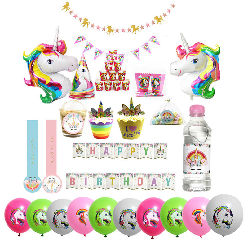 1set Party Decoration Unicorn Banners Pink Baby Showers Garlands Kids Birthday Event Supplies Happy Hanging Background Garlands