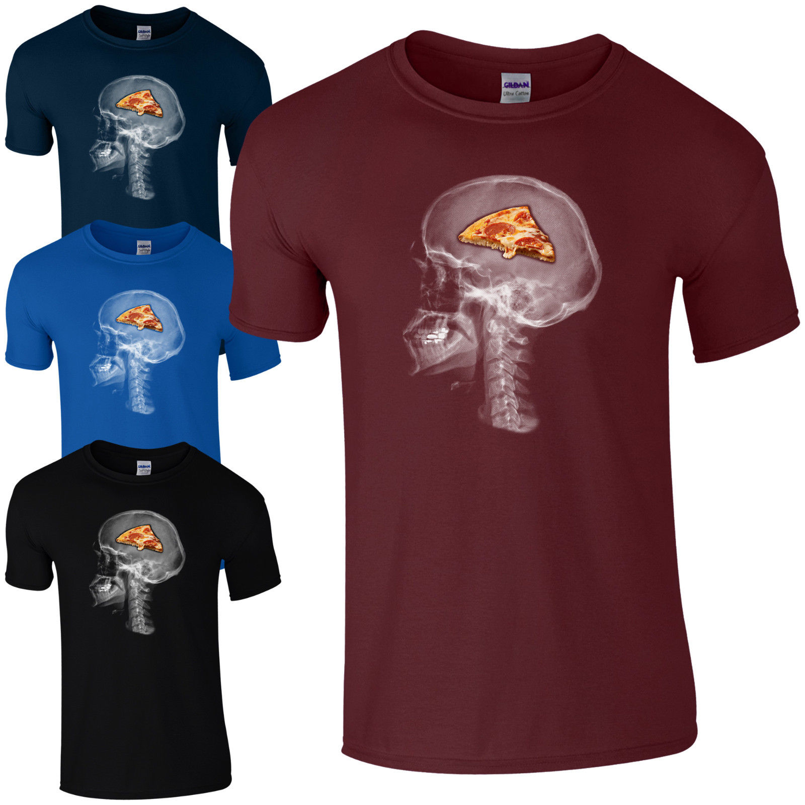 Pizza On The Brain T-Shirt - Funny Skull X-Ray Food Lovers Gift Unisex Cool Casual pride t shirt men Unisex New Fashion image